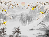 Landscape illustration, gray mountains, trees, sunrise in the fog, yellow birds sit on the branches of a tree that blooms with white flowers - 269140657