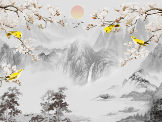 Fototapeta Góry Landscape illustration, gray mountains, trees, sunrise in the fog, yellow birds sit on the branches of a tree that blooms with white flowers