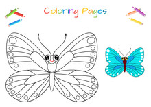 Funny Little Butterfly. Copy The Picture. Coloring Book. Educational Game For Children. Cartoon Vector Illustration