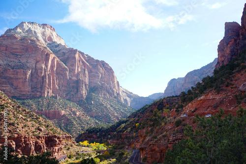 Poster de jardin Parc Naturel view of Zion National Park mountains Utah