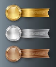 Vector Gold, Silver, Bronze Blank Medals And Horizontal Ribbons With Text Space Isolated On Gray Background.