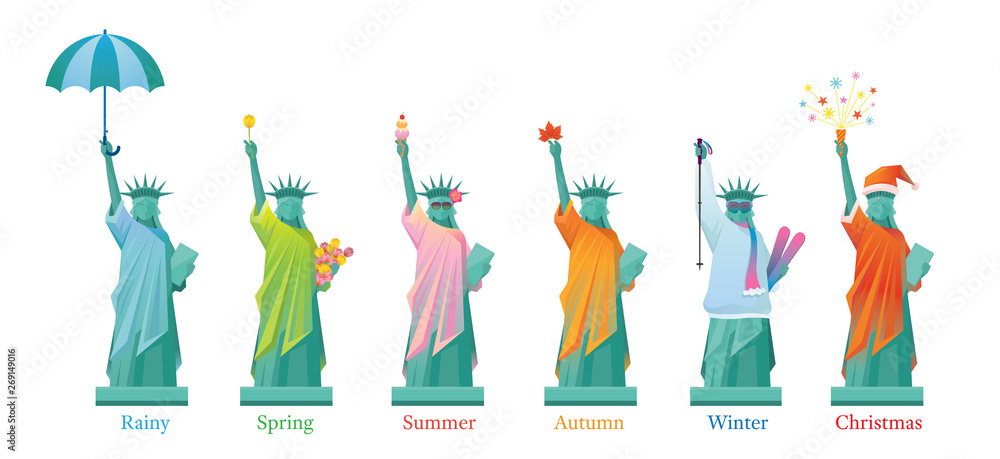 Fototapety, obrazy: Statue of Liberty in Season, Landmarks, Travel and Tourist Attraction