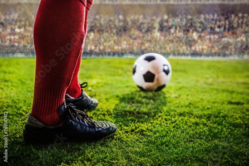 Fotografie, Obraz  feet of soccer red eam in the stadium
