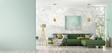 Interior Of Living Room With Green Sofa 3d Rendering