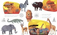 Cartoon African Savannah Animals Composition