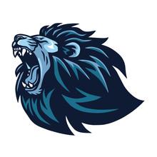 Lion Head Roaring Logo Vector Mascot Design