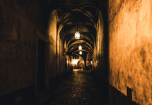 Mysterious Corridor In The Old Dungeon In The Castle
