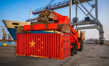 The Container In The Colors Of The People's Republic Of China In The Port-3d Illustration