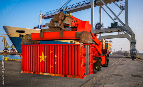 Photo  The container in the colors of the People's Republic of China in the port-3d ill