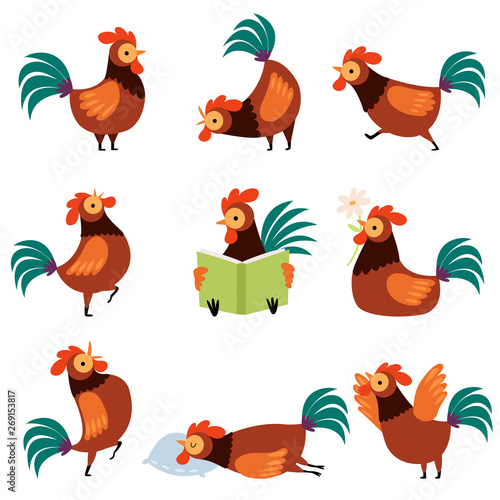 Collection of Roosters with Bright Plumage in Different Situations, Farm Cocks C Fotobehang