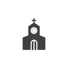 Church Building Vector Icon. F...