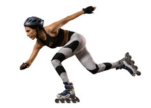 Professional Woman Roller Skating. Isolated
