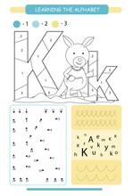 Letter K And Funny Cartoon Kangaroo. Animals Alphabet A-z. Coloring Page. Printable Worksheet. Handwriting Practice. Connect The Dots.