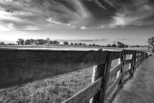 Wooden Rail Fence In Kentucky Bluegrass Region BW