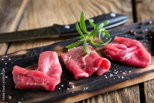 Thinly sliced beef pieces. beef carpaccio - 269162054