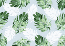 Hand Drawn Natural Leaves, Textile Fashion, Abstract Seamless Pattern, Vector Illustration File.