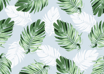Panel Szklany Minimalistyczny hand drawn natural leaves, textile fashion, abstract seamless pattern, vector illustration file.