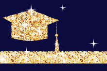 Golden Graduation Cap Horizont...