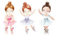 Watercolor Ballerina. Hand Pai...