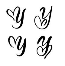 Vector Set Of Vintage Floral Letter Monogram Y. Calligraphy Element Valentine Flourish. Hand Drawn Heart Sign For Page Decoration And Design Illustration. Love Wedding Card For Invitation