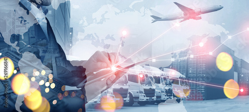 Multiple exposures of business shipping, logistics, industry background overall Wallpaper Mural