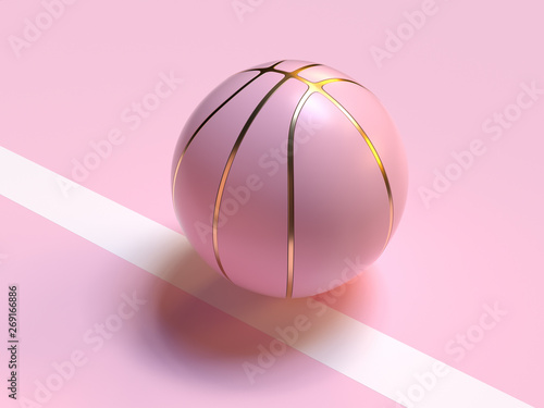Fotografiet  pink pastel gold abstract ball/basketball 3d rendering sport object concept