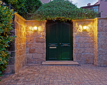Vintage House Entrance Dark Green Door Late In The Afternoon