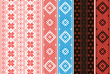 Set Of Slavic Ornaments. Ribbons For Belts And Decoration Of Clothing.