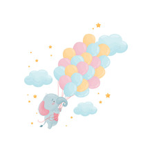 Cute Little Elephant Is Flying...