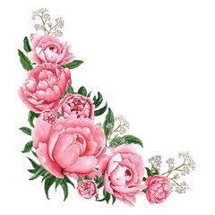 Panel Szklany Peonie Watercolor illustration of pink peony flower blossom