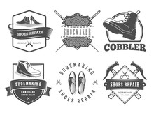 Shoes Repair Logos. Vector Badges For Cobbler Or Shoemaker Shop. Labels With Shoes, Boots And Shoemaking Tools