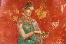 Pompeii, Italy. 04-22-2019. Fresco  In Antique Roman House In Pompeii, Italy.
