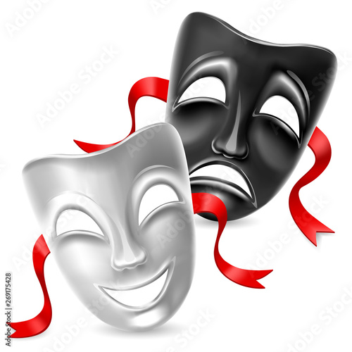 Theatrical masks. Black and white. Isolated. Mesh. Clipping Mask #269175428