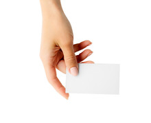 Woman Holding White Business Card In Hand Isolated On A White Background. Tamplate For Your Design.