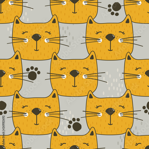 Muzzle of cats, hand drawn backdrop. Colorful seamless pattern with muzzles of animals. Decorative cute wallpaper, good for printing. Overlapping background vector. Design illustration, meow