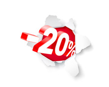 Paper Explosion Banner 20 Off With Share Discount Percentage.
