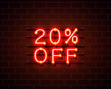 Neon 20 Off Text Banner. Night Sign. Vector