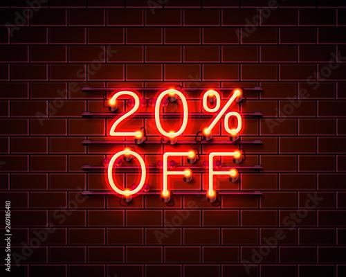 Neon 20 off text banner. Night Sign. Vector Wallpaper Mural