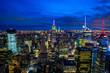 ニューヨーク・エンパイアステートビルの摩天楼と夜景