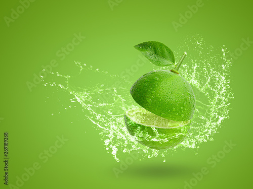 Fresh green lime isolated on white background - 269189268