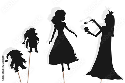 Fotografie, Obraz  Shadow puppets of Snow White, dwarfs and Evil Queen