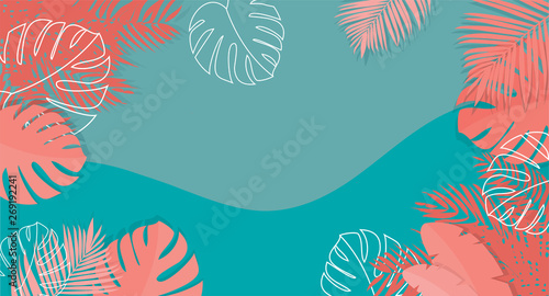 Tropical Summer background Banner with Coral colors -vector