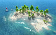 Sandy Beach On A Tropical Island With Coconut Palms. Small Sailboats By The Shore.