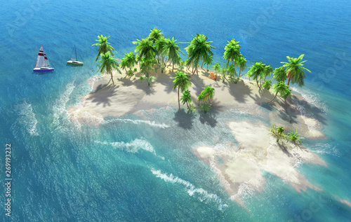 Fotografía  Sandy beach on a tropical island with coconut palms