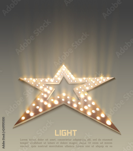Photo  Star retro light banner.