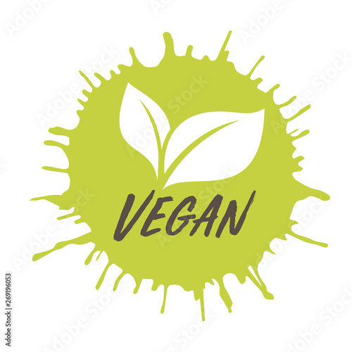 Vegan icon Ink with stamp effect  Vector for posters, web, cards