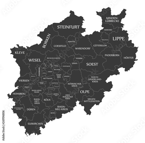 Fotografie, Obraz  Modern Map - North Rhine-Westphalia map of Germany with counties and labels blac