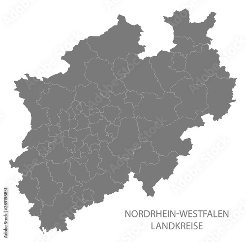 Obraz na plátně  Modern Map - North Rhine-Westphalia map of Germany with counties gray