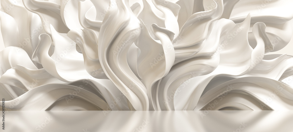 Fototapety, obrazy: Luxury elegant background with silk drapery. 3d illustration, 3d rendering.