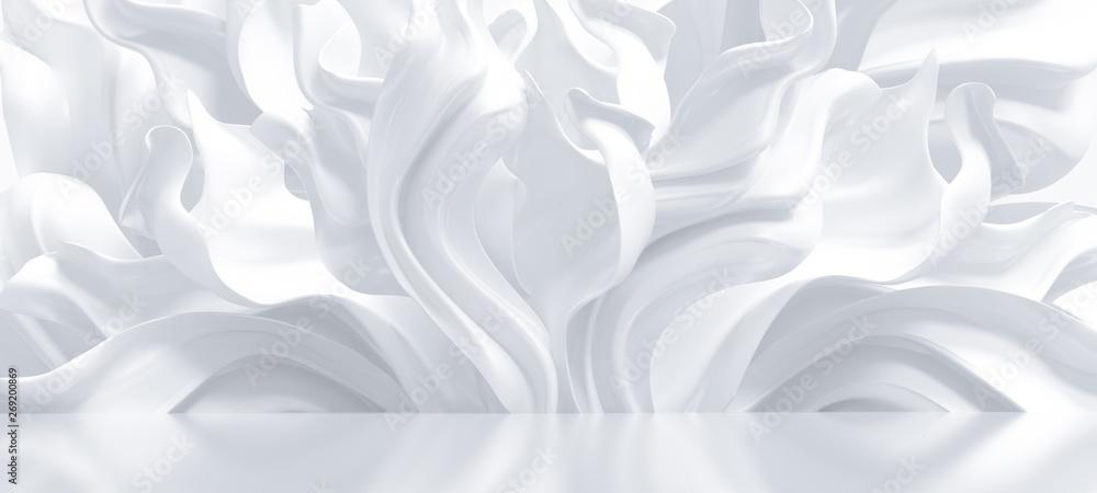Fototapety, obrazy: Luxury elegant background with silk drapery. 3d illustration, 3d rendering.